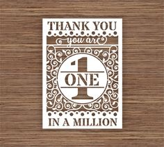 You Are 1 One In A Million Thank You PDF SVG Instant Download Digital Papercutting Template by ArtyCuts on Etsy