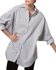 Striped+Big+Shirt,+Petite+by+Go+Silk+at+Neiman+Marcus+Last+Call.