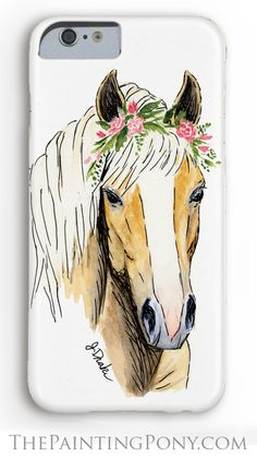 Haflinger Horse Phone Case - iphone and Samsung Galaxy style cell phone cases for the equestrian horse lover. Cute palomino horse head artwork with pink roses in her mane.