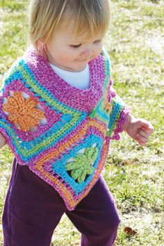 Blooming Toddler Poncho Free pattern    OMG I want this for H! I need to learn to crochet!