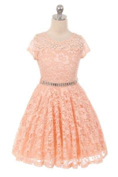 Girls' Peach Lace Skater Dress With Stone Belt  #canada #shoppingonline #shopping #instalikes #Oasislync #fashion #clothes #shoppingday #canadaonline #fashionstyle