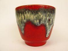 Vintage Keramik Übertopf / rot / Fat Lava / Bay | West German Pottery | 60er von ShabbRockRepublic auf Etsy