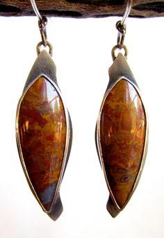 Earrings - Sterling Silver - Kramer Hills Jasper Agate - Lapidary - Hand Cut and Polished - Bezel - Silversmith - RMD Designs www.rmddesigns.com