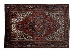 HERIZ / IRAN  Item Number:13417 Width: 7 ft. 8 in. Length: 11 ft. 3 in. Field: GEOMETRIC Field Color: RED Border Color: BLACK www.togarrugs.com (828)-687-1968