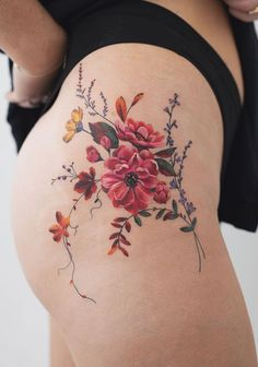 Rey Jasper Andres flower Tattoo - Rey Jasper Andres flower Tattoo You are in the right place about Rey Jasper Andres flower Tattoo Tat - Flower Hip Tattoos, Delicate Flower Tattoo, Floral Thigh Tattoos, Mini Tattoos, Colorful Flower Tattoo, Pretty Flower Tattoos, Cute Small Tattoos, Cute Tattoos, Beautiful Tattoos