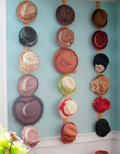 hats on pegs. I need to do this! my hats are taking over my room