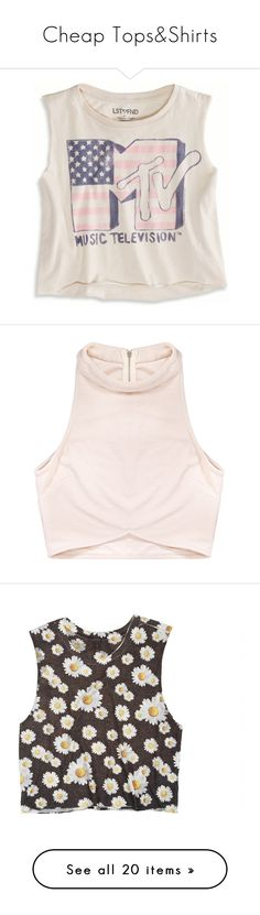 """Cheap Tops&Shirts"" by rockloverr ❤ liked on Polyvore featuring tops, shirts, tank tops, tanks, chalk, graphic tank tops, crop tank, cropped tank tops, pink crop top and pink shirts"