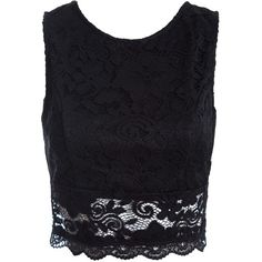 188384c1434 Sans Souci Black open back lace crop top ( 29) ❤ liked on Polyvore  featuring tops