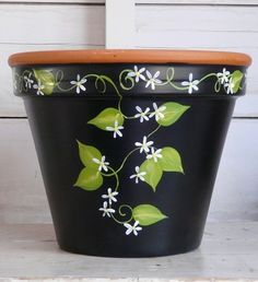 Pots terra cotta flower pots You can land cotta flower pots Flower Pot Art, Flower Pot Design, Clay Flower Pots, Terracotta Flower Pots, Flower Pot Crafts, Cactus Flower, Painted Plant Pots, Painted Flower Pots, Clay Pot Projects