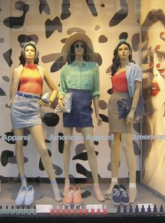 Spring Display in the window of one of our London Stores!  Merchandizing by Matt King.  #americanapparel #window #merchandizing #spring