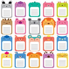 Illustration about 20 animals text box, text frames set. Illustration of bunny, clipart, blank 61390069 Printable Planner Stickers, Journal Stickers, Journal Cards, Bullet Journal Cover Ideas, Doodle Characters, Diy Doll Miniatures, Text Frame, School Frame, Anime Crafts
