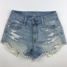 """[AE] Hi-Rise Shorts Cutoffs Festival Beach Boho Light wash high waisted cutoffs. Perfect for summer. Slightly higher cut on sides. Pockets show at bottom.   Fabric: 100% Cotton  Waist: 12"""" Inseam: 2"""" Rise: 9"""" Hips: 16"""" Condition: EUC. No flaws. Distressed by design.  No Trades! American Eagle Outfitters Shorts Jean Shorts"""