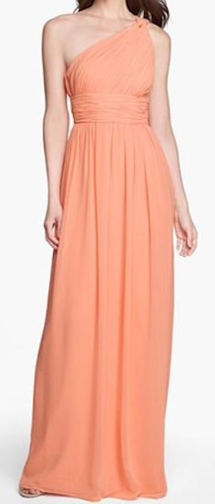 Ruched one-shoulder chiffon gown http://rstyle.me/n/f2amknyg6