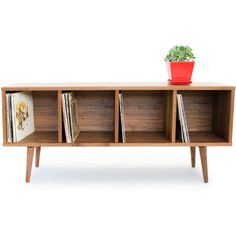 Walnut Record Storage Mid Century Modern Credenza Solid Wood Media... ($1,300) ❤ liked on Polyvore featuring home, furniture, storage & shelves, entertainment units, console tables & cabinets, home & living, living room furniture, silver, walnut media console and storage furniture