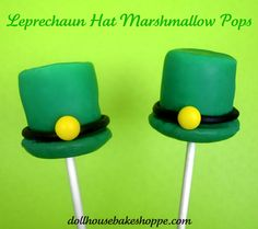 Leprechaun Hat Marshmallow Pops  You will need:  lollipop sticks      Marshmallows  Round cookies (I used Nilla Wafers)  Green candy melts (Melted white chocolate, dyed green also work)  Black licorice rope (or tootsie rolls rolled into a rope)  Mini yellow M&M's