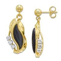 Black Coral Paradise Earrings with Diamonds in 14K Yellow Gold