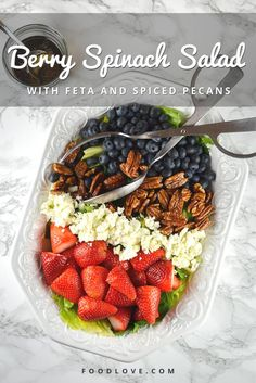 Berry Spinach Salad with Feta and Spiced Pecans | FoodLove.com #HealthySalads #BerrySpinachSalad #FoodLove