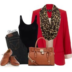 A fashion look from December 2012 featuring long black tank top, red blazer and 5 pocket jeans. Browse and shop related looks.