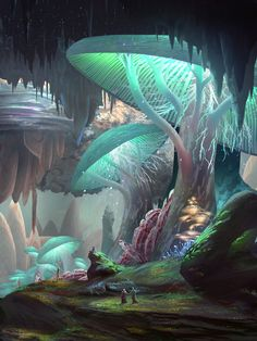 Giant phosphorescent mushrooms in underground cavern city, art by JamesCombridge