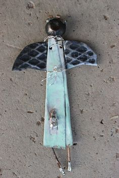 original mixed media metal from my fire abstract by fadedwest, $35.00