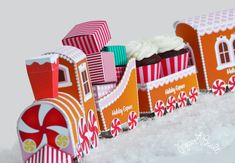 Gingerbread Treat Train Favor Box Holiday Train by PaperBuiltShop