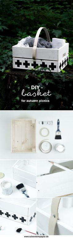 Ein DIY Picknick im Herbst: Korb aus Holz basteln | Tutorial auf dem Blog | Do it yourself Picknick Deko Ideen | wooden basket | Interior | geometrisch | skandinavisches Design | Wohnen | Obstkiste | Upcycling | DIY Geschenke basteln