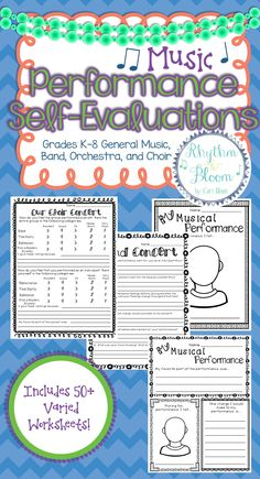 Music Performance Self-Evaluation, BUNDLED SET! Includes over 50 worksheets for general music performances & choir, band and orchestra concerts. Christmas worksheets newly added!