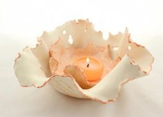 Clay Candle Holder Ceramic Free Formed by SueDicksonGallery centerpieces Clay Candle Holder Set, Wedding Candle, Wedding Centerpiece, Ceramic Luminary - Clearance Original Price Diy Clay, Clay Crafts, Ceramic Pottery, Ceramic Art, Clay Candle Holders, Keramik Design, Candle Wedding Centerpieces, Paperclay, Air Dry Clay
