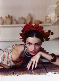 "Maria Carla by Nathaniel Goldberg in ""Frida Kahlo"" for Harper's Bazaar, November 2001"