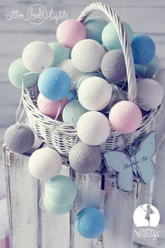 Cotton Ball Lights :: Świetlna girlanda CzaryMaryś 20 kul 20 kul | POMYSŁ NA PREZENT OŚWIETLENIE \ dekoracyjne DODATKI \ Dekoracje świetlne STYLE \ DLA DZIECKA STYLE \ PASTELOVE | Cotton lamps Warszawa
