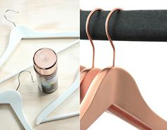 Bedroom: Spray paint white hangers copper.