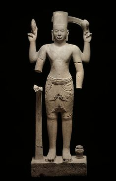 Vishnu, first half of the 9th century. Central Cambodia. Lent by Musée National des Arts Asiatiques–Guimet, Paris (MG18860) | A series of single-cell brick sanctuary temples on Phnom Kulen built during the reign of Khmer king Jayavarman II are associated with a small corpus of important sculptures, including this Vishnu. Stylistically, it marks the moment of transition from the pre-Angkorian world to the beginnings of the Angkorian period. #LostKingdoms