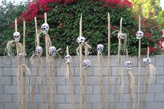 GREAT STAFF FOR A COSTUME, add rattling shells or bones! repaint a bunch of dollar tree skulls, place on some bamboo, bit of raffia - dimly lit area of the trail or right outside of the bridge before crossing the trail Voodoo Party, Voodoo Halloween, Halloween 2014, Halloween Skeletons, Halloween Projects, Halloween House, Holidays Halloween, Halloween Themes, Happy Halloween