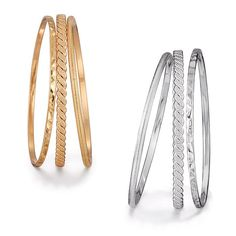 Three stackable bangle bracelets. One has a hammered finish, one has a lined finish and one has a bumpy textured finish. Set is offered in your choice of silvertone or goldtone. Regularly $19.99, shop Avon Jewelry online at http://eseagren.avonrepresentative.com