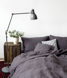 Dark Grey Stone Washed Linen Bed Set