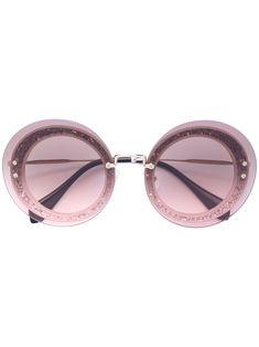 MIU MIU EYEWEAR . #miumiueyewear # Miu Miu Glasses, Round Lens Sunglasses, Glitter Glasses, Miuccia Prada, Protective Cases, Mauve, Lenses, Eyewear, Purple
