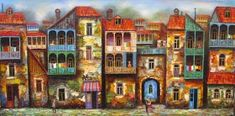 Galerie D'art, City Illustration, School Art Projects, Naive Art, Russian Art, Whimsical Art, House Painting, Urban Art, Painting Inspiration