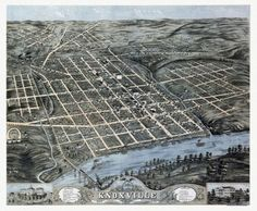 Vintage Map of Knoxville Tennessee 1871 Knox County Poster Print (36 x 54)
