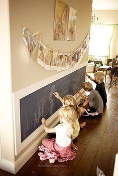 Kids Chalkboard Art Wall~How to turn a textured wall into a .- Kids Chalkboard Art Wall~How to turn a textured wall into a smooth wall kids writing on chalkboard wall. Great use of a hallway. Hang kids art and maybe backpacks on top - Kids Chalkboard, Chalkboard Writing, Chalkboard Wall Playroom, Magnetic Chalkboard, Framed Chalkboard Walls, Chalkboard Drawings, Chalkboard Lettering, Black Chalkboard, Casa Pop
