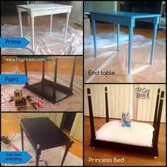 Turn an end table into a princess bed for your favorite fur baby!! This is a no sanding method to transform a piece of furniture!  I secured a Victorian end table from Craigslist (be careful) then I used a Rust-Oleum Primer which indicated good for all surfaces to prime the table for painting. I then proceeded to paint the table black using Rust-Oleum Semi Gloss paint. 2 coats were enough.  After the paint was dry I added the feet which are actually kitchen cabinet knobs. I used gorilla glue…