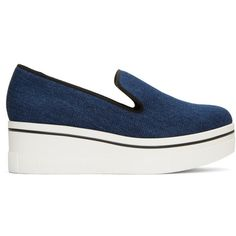 Stella McCartney Navy Denim Slip-On Sneakers ($470) ❤ liked on Polyvore featuring shoes, sneakers, navy, platform shoes, navy shoes, navy sneakers, navy slip on shoes and platform slip-on sneakers