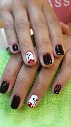 Дизайн ногтей. Шеллак. Ногти. Вишенки