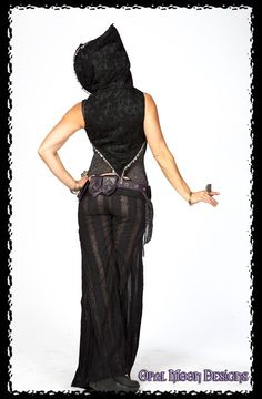 Crescent Flare Tribal Fusion Belly Dance Pants in Lace Stripe