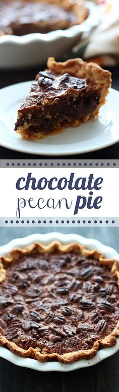 Chocolate Pecan Pie - Ooey, gooey, yet crunchy filling with a buttery, flaky homemade pie crust!