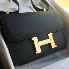 e7830d83968d  Hermes 24cm Constance in black Epsom leather with gold hardware   constance24  Hermeshandbags Luxury