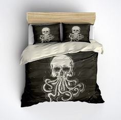 Featherweight Octopus Skull Bedding -  Octop Skull Design Printed on Cream - Comforter Cover - Octo Duvet Cover, Skull Bedding Set