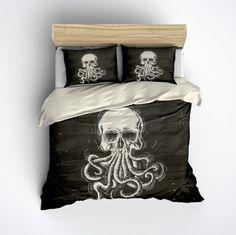 Featherweight Octopus Skull Bedding -  Octop Skull Design Printed on Cream - Comforter Cover - Octo Duvet Cover, Skull Bedding Set