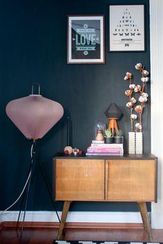 Tiny sideboard in my living room. #vintage #midcentury #darkwall | www.craftifair.com