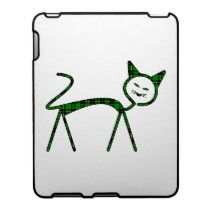 Modern cat filled with tartan pattern case for the ipad by Yorkman