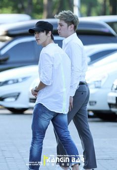 Donghae & Kangin. Kangin is so handsome. Donghae always looks good dressed casual. My two boys♥